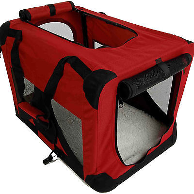 """36"""" Burgundy Portable Pet Dog House Soft Crate Carrier Cage Kennel w/Carry Case"""