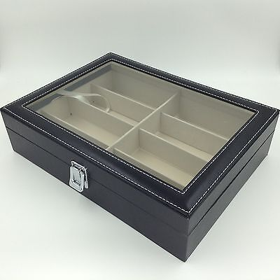 New 8 pcs Sunglasses Glasses Eyewear  Storage Display case box with window