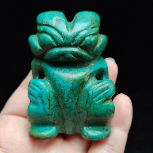 Chinese collectible,Jade hand-carved ,Ancient jade card statue pendantH269
