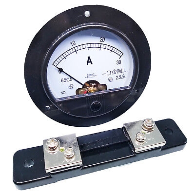 US Stock DC 0~30A Analog AMP Current Pointer Needle Panel Meter Ammeter & Shunt (Analog Amp Panel Meter)