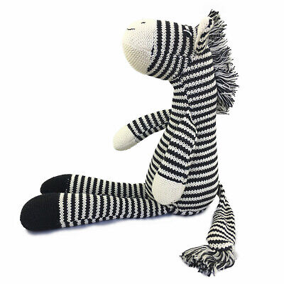 Hand Knitted Zebra Stuffed Animal Plush Toy 16 Inches Length - By ICE KING BEAR
