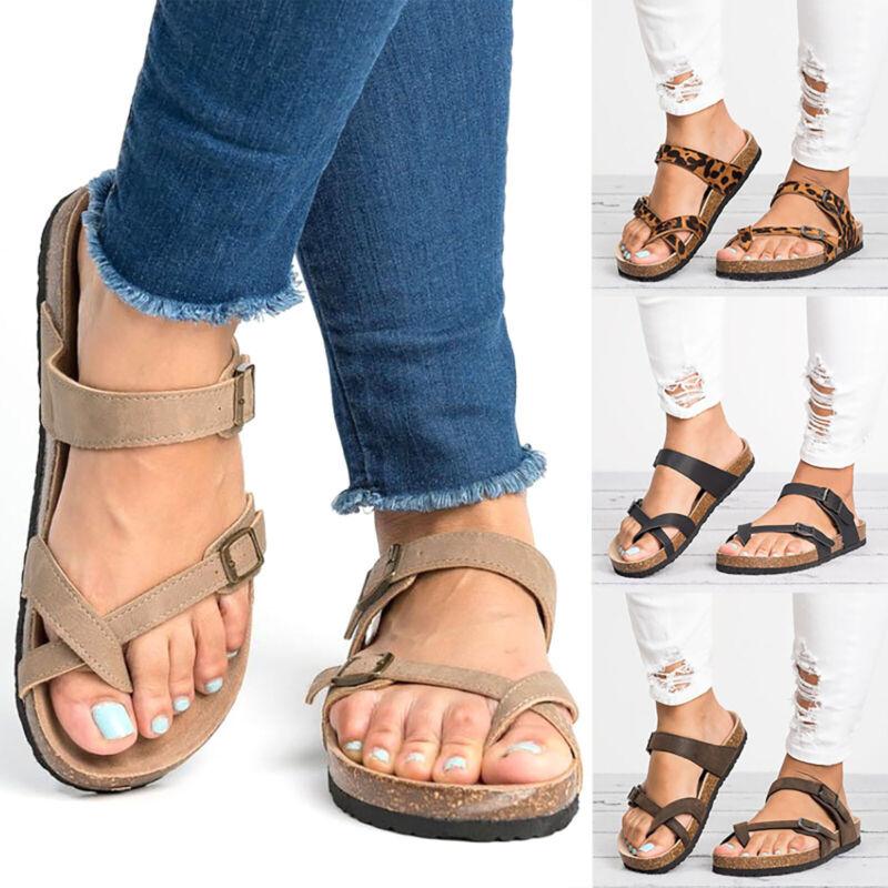 Ladys Slide Buckle T-Strap Sandals Flat Cork Footbed Platfor