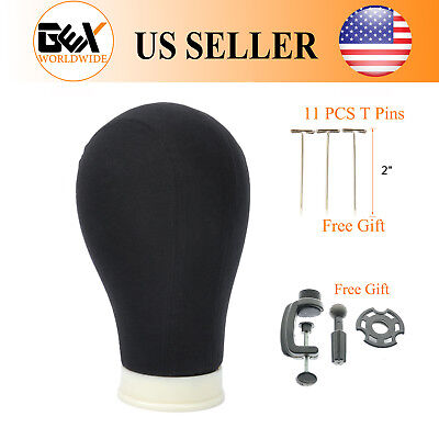Gex 22 Black Poly Canvas Block Head Mannequin Head With Stand And T Wig Needle