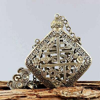 Collect Miao Silver Carve Flower Rattan & Chinese Characters Noble Snuff Bottle Flower Snuff Bottle