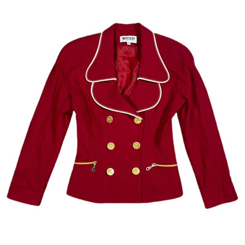 VINTAGE Moschery Womens Blazer 4 Red Tiger Button Peplum Wool Blend USA