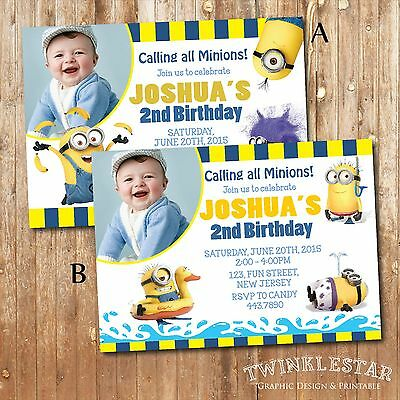 Minion Birthday Invitation - Personalized - Digital Printable File](Personalized Minion Birthday Invitations)