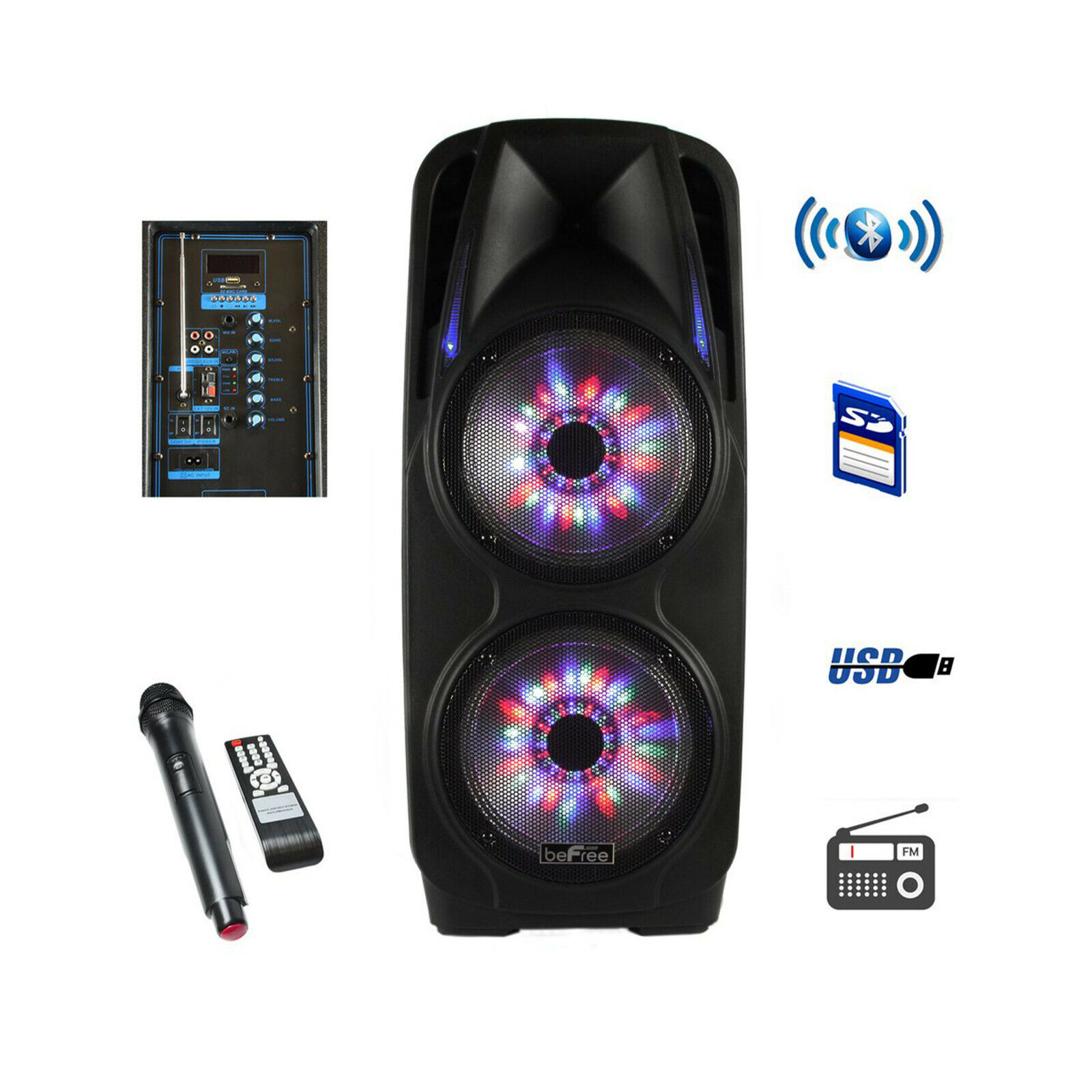 Befree Sound - Bluetooth Powered Portable Pa Speaker - Black
