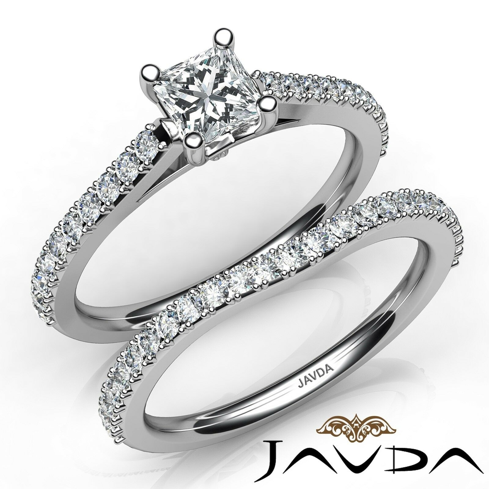 1.45ctw Matching Wedding Bridal Set Princess Diamond Engagement Ring GIA J-SI2