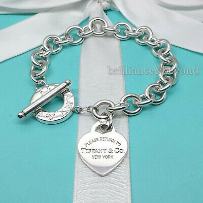 Return to Tiffany & Co. Heart Tag Toggle Charm Bracelet 925 Silver Authentic Silver Heart Charm Toggle Bracelet
