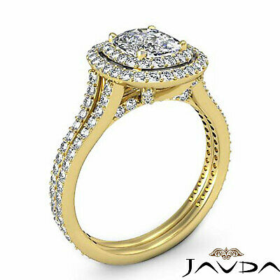Cushion Diamond Engagement Antique Halo Ring GIA F SI1 14k White Gold 2.55 ct 7