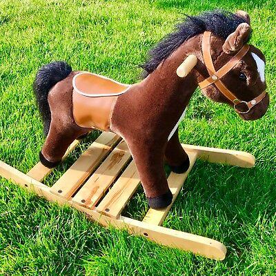 "$120~""Rock & Trot Plush Rocking Horse"" Melissa & Doug Saddle+Bridle Gallop Sound"