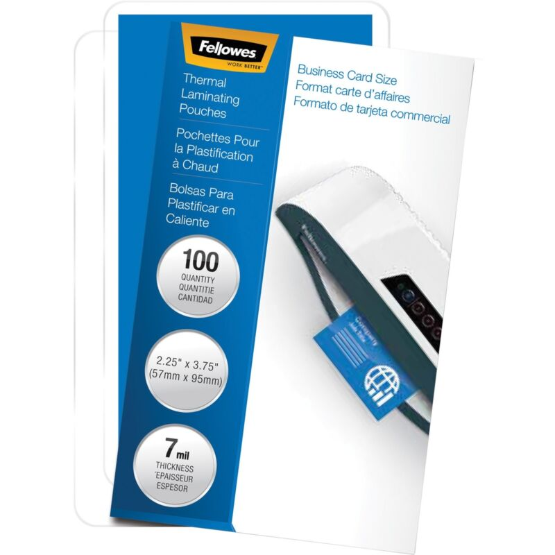 """Fellowes Laminated Business Pouches Glossy 2-1/4""""x3-3/4"""" 7mil 100/PK 52059"""