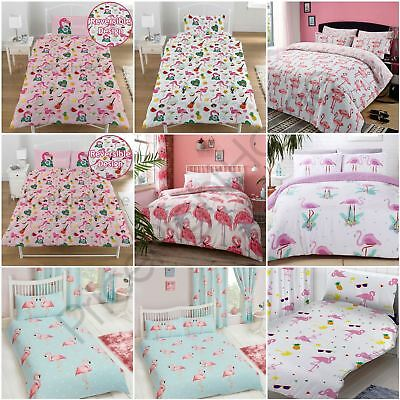 FLAMINGO DUVET COVER SETS KIDS ADULTS BEDDING - SINGLE, DOUBLE & KING SIZE