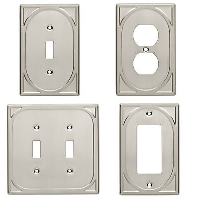 Double Switch Wall Plate (Double Switch Single Switch Plate Outlet Cover Wall Rocker Satin Nickel)