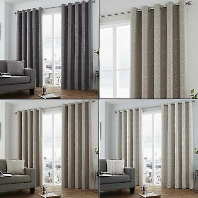 Camberwell Geometric Modern Lined Eyelet Curtains - Natural Silver (Natural Lined Curtains)