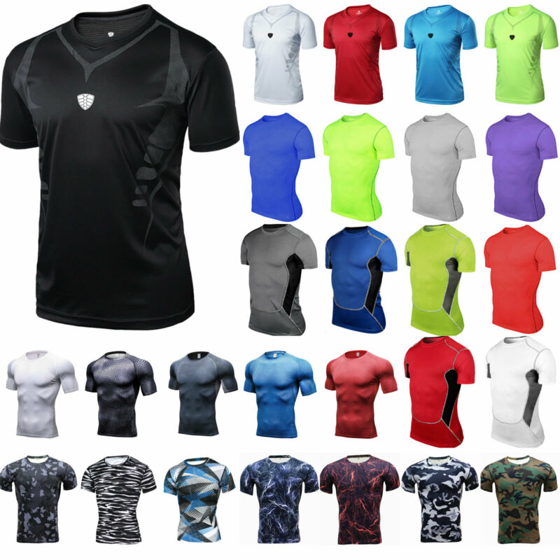 Herren Kompressionsshirt Funktionsshirt Kurzarm Tops Fitness T-Shirt Unterhemd