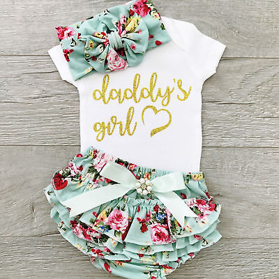 USA Cute Newborn Baby Girls Cotton Tops Romper Floral Pants Outfits Set - Cute Usa Outfits