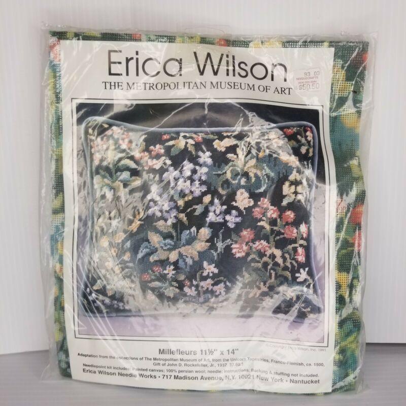 VTG NEW Erica Wilson Millefleurs Pillow Needlepoint Kit Metropolitan Museum Arts