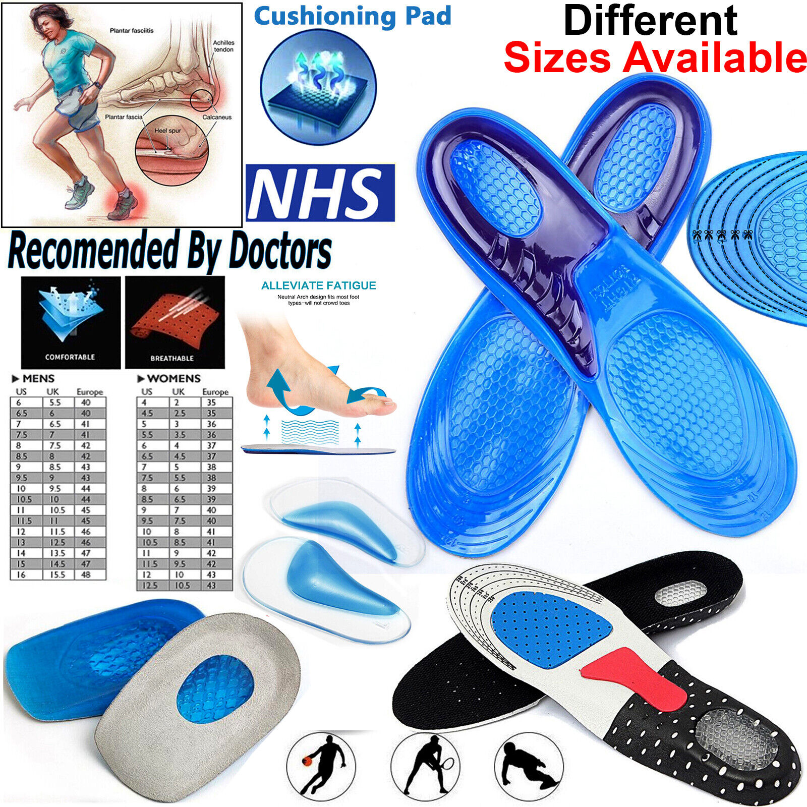 Lot Of 6 Pair Unisex comfortable Memory Foam Shoe Pad Insoles Free Shipping