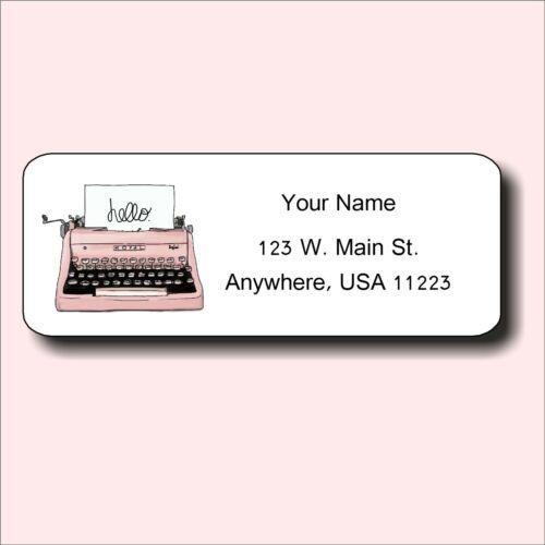 Return Address Labels Retro PINK TYPEWRITER Personalized Custom Set of 90 labels