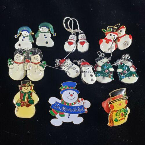 Christmas Holiday  Pins Earrings Lot Snowman Snowmen