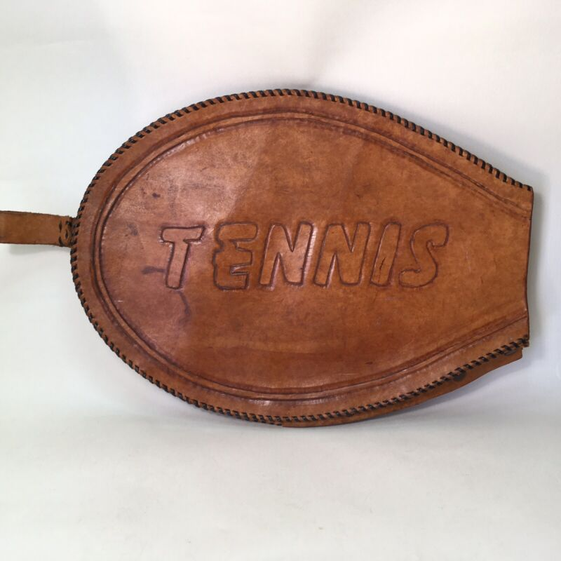 Tennis Racquet Case Cover Brown Leather Embossed Snap On Handmade Vintage