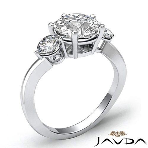 Round Natural Diamond Engagement GIA F SI1 Platinum 3 Three Stone Ring 1.5ct 2