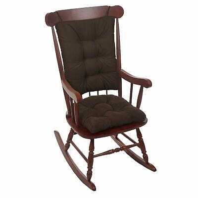 Twillo Overstuffed Rocking Chair Pad Set Seat and Seatback Cushions Chocolate