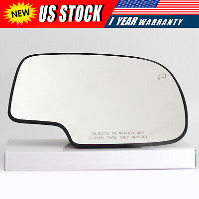 For 1999-2007 Chevy GMC Sierra Power Heated Passenger Right Side Mirror Glass ()