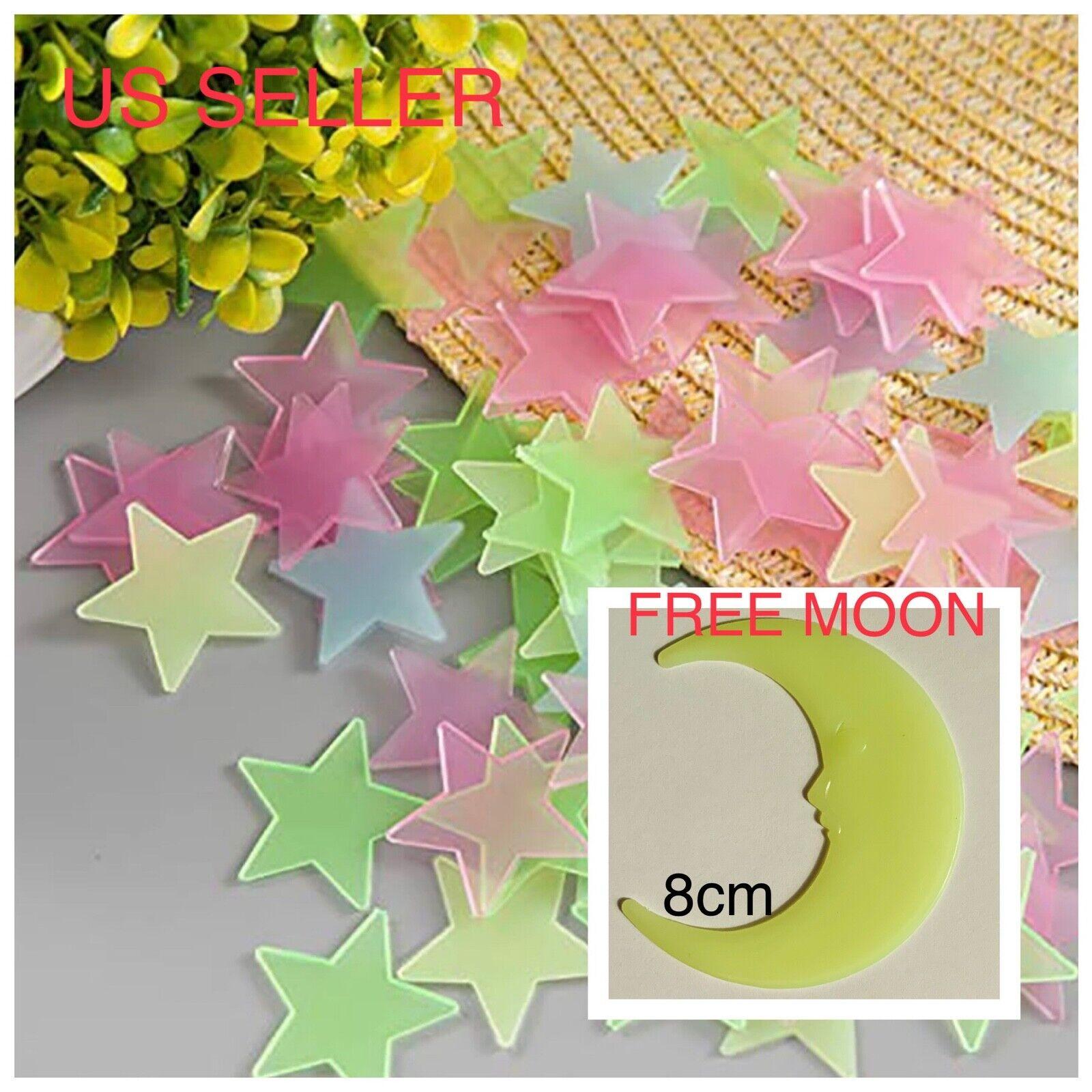40-200Pc Stars Glow In The Dark Stickers Wall Decal Kids Bedroom *FREE 🌙 MOON