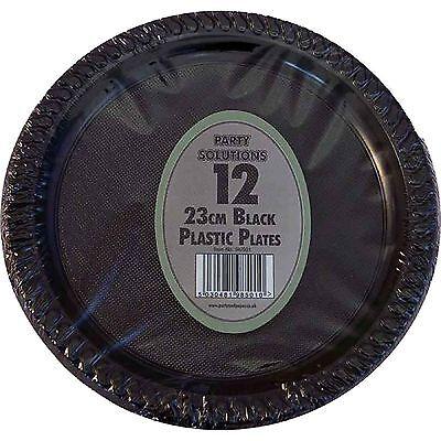 "12 x BLACK PLASTIC PLATES ROUND 23cm 9"" PARTY SUPPLIES TABLEWARE DISPOSABLE"