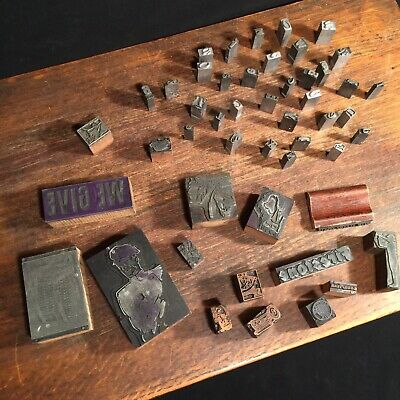 Vtg Antique Printing Blocks Lot 49 Metal Wood Print Sinclair Vw Firestone Police