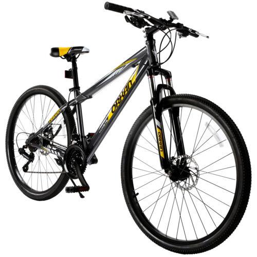 """27.5"""" Men's Mountain Bike 21 Speed Bicycle Shimano Hybrid Sports Gray&Orange"""