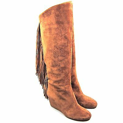 K-CL109450 New Christian Louboutin Pouliche Suede Fringe Tall Boots 70 Size 39