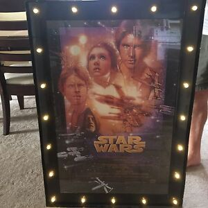 Framed Star Wars poster with working lights