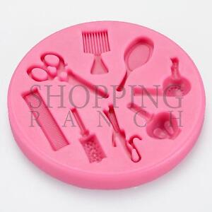 Hairdresser Hairdressing Silicone Mould Hair Dressing Themed Cake Topper