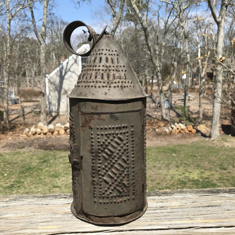 Antique 18th-19th Century Punched Pierced Tin Candle Lantern Lamp