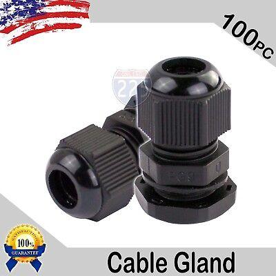100 Pcs Pg9 Black Nylon Waterproof Cable Gland 4-8mm Dia. W Lock-nut Gasket