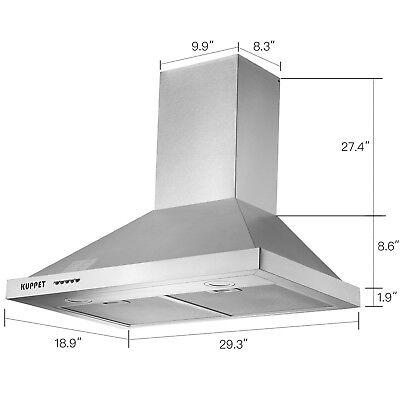 "30"" Stainless Steel Wall Mount Range Hood Push Panel Kitchen Mesh Stove Vent Fan"