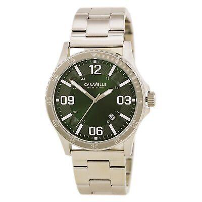 New Caravelle New York By Bulova 43B129 Mens Green Dial Quartz Date Watch