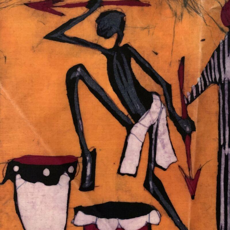 Mozambique Batik Warrior Dancing with Drums African Textile Art 8x9 Inch