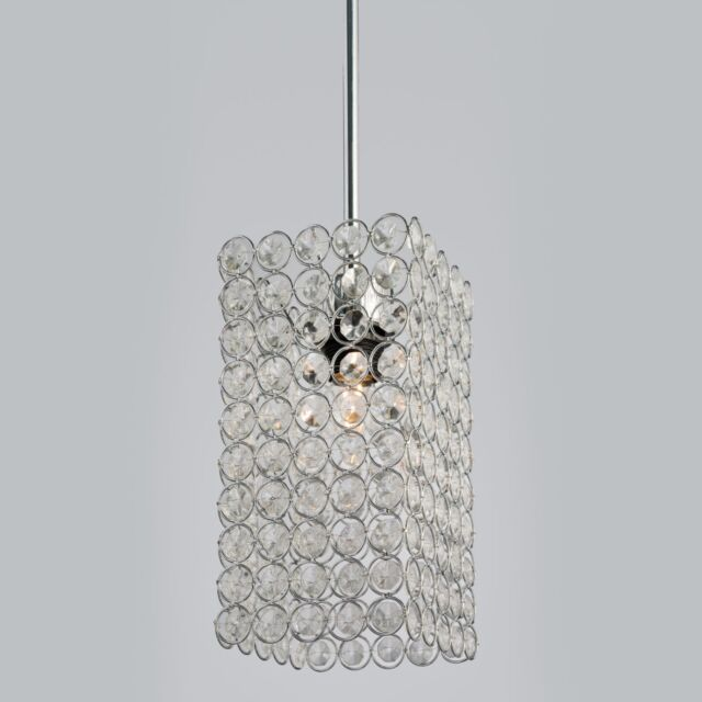 Beaded Crystal Chrome Non Electric Ceiling Pendant Light Shade Easy Fit