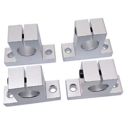 Us Stock 4pcs Sk20 20mm Cnc Aluminum Linear Rail Shaft Guide Support Bearing