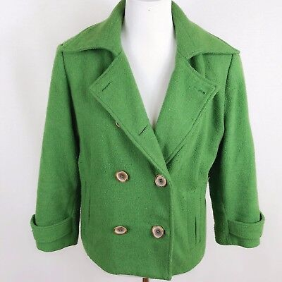 CAbi Women Size 12 Wool Blend Green Double Breasted Peacoat Jacket , used for sale  San Francisco