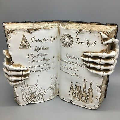 """Witch Open Spell Book Love Protection Skeleton Hand Halloween Prop Decor 13"""" NEW"""