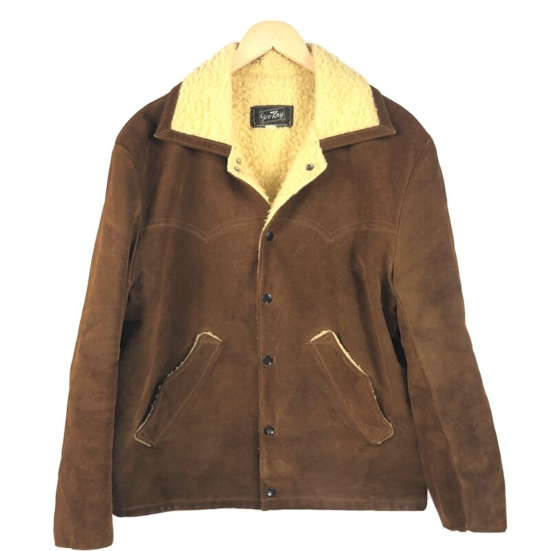 Joo Kay Vintage Suede Leather Jacket Sherpa Lined Mens Size 44