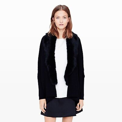 NWOT M. Patmos Club Monaco Black Cardigan Detachable Fur Collar XS