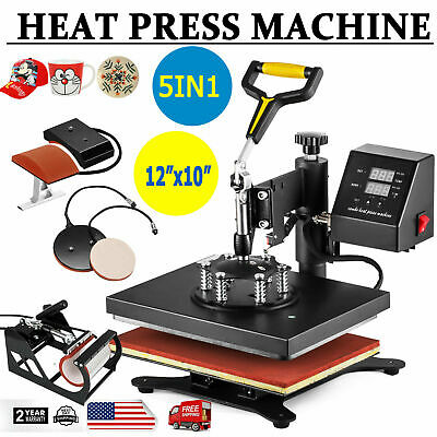 5 In1 Digital Heat Press Machine Sublimation T-shirt Mug Plate Hat Printer 12x10