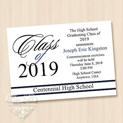 2018 HIGH SCHOOL COLLEGE UNIVERSITY GRADUATION INVITATIONS BLUE PARTY Any Colors](High School Graduation Parties)