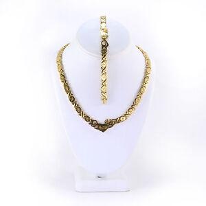 Stainless Steel Gold Tone I LOVE YOU Hugs & Kisses Set XO Necklace & Bracelet 18
